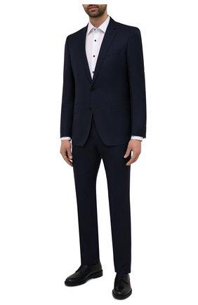 Мужские кожаные дерби HUGO темно-синего цвета, арт. 50455186 | Фото 2 (Стили: Классический)