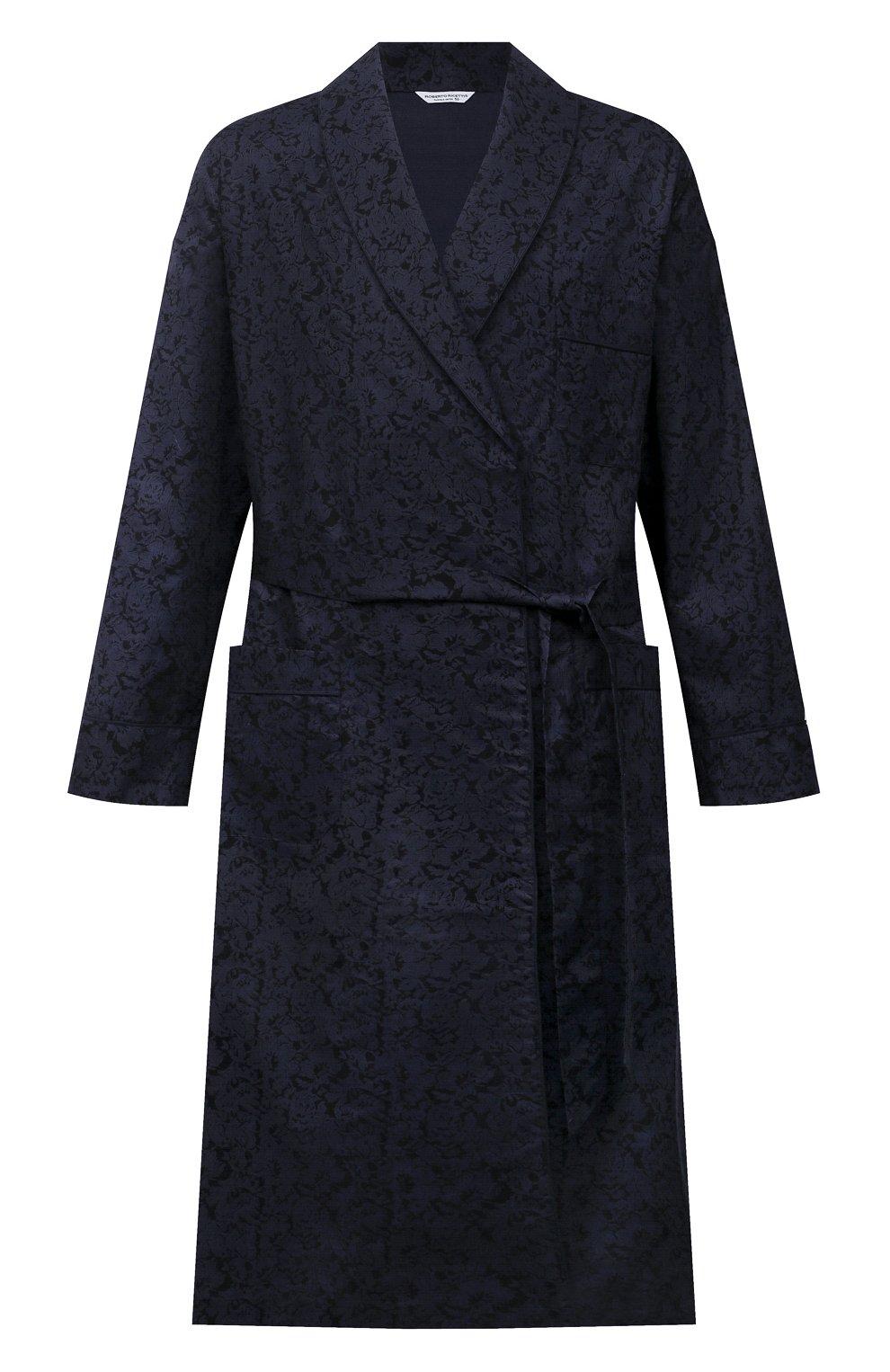 Мужской хлопковый халат ROBERTO RICETTI темно-синего цвета, арт. VESTAGLIA R0BE/C2611 | Фото 1 (Рукава: Длинные; Кросс-КТ: домашняя одежда; Материал внешний: Хлопок; Длина (верхняя одежда): Длинные)