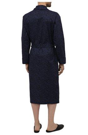 Мужской хлопковый халат ROBERTO RICETTI темно-синего цвета, арт. VESTAGLIA R0BE/C2611 | Фото 3 (Рукава: Длинные; Кросс-КТ: домашняя одежда; Материал внешний: Хлопок; Длина (верхняя одежда): Длинные)