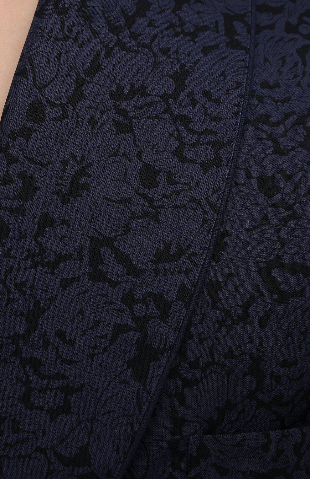 Мужской хлопковый халат ROBERTO RICETTI темно-синего цвета, арт. VESTAGLIA R0BE/C2611 | Фото 4 (Рукава: Длинные; Кросс-КТ: домашняя одежда; Материал внешний: Хлопок; Длина (верхняя одежда): Длинные)