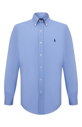 Мужская хлопковая рубашка POLO RALPH LAUREN голубого цвета, арт. 710792044 | Фото 1