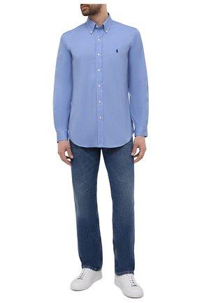 Мужская хлопковая рубашка POLO RALPH LAUREN голубого цвета, арт. 710792044 | Фото 2
