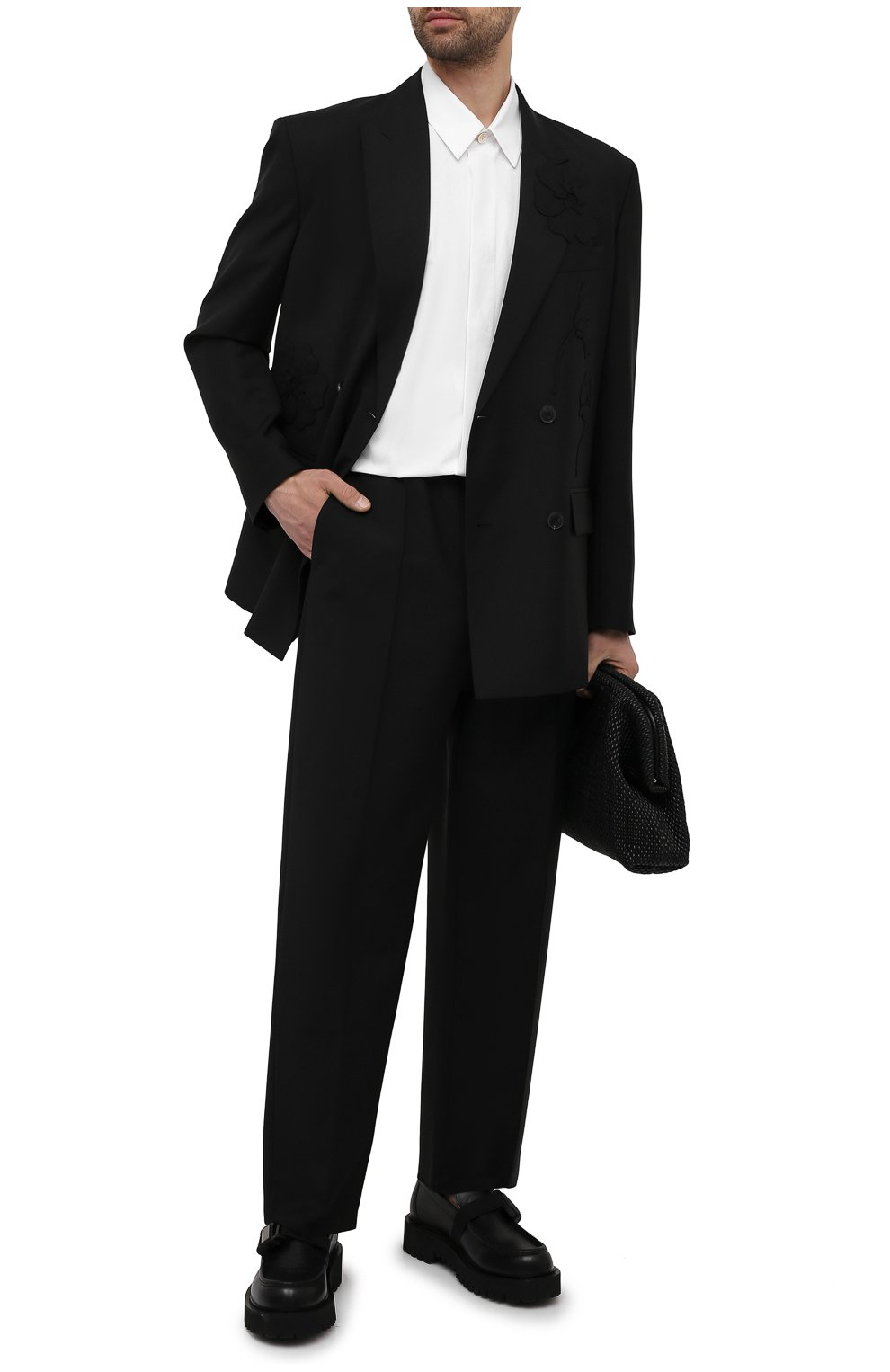 Мужские шерстяные брюки VALENTINO черного цвета, арт. WV3RBG9025S   Фото 2 (Материал внешний: Шерсть; Длина (брюки, джинсы): Стандартные; Случай: Повседневный; Стили: Минимализм)
