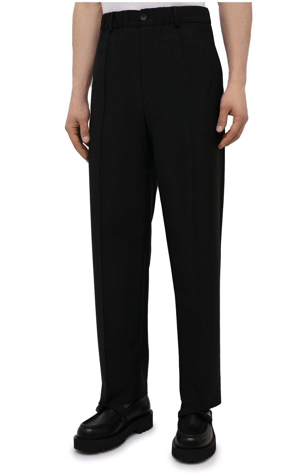 Мужские шерстяные брюки VALENTINO черного цвета, арт. WV3RBG9025S   Фото 3 (Материал внешний: Шерсть; Длина (брюки, джинсы): Стандартные; Случай: Повседневный; Стили: Минимализм)
