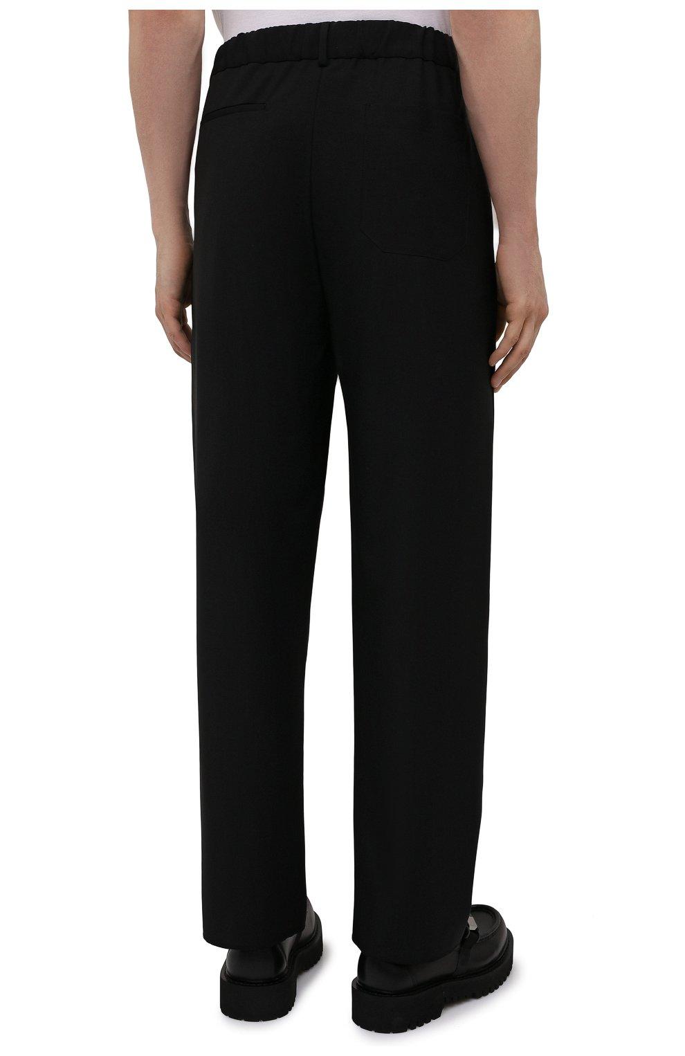 Мужские шерстяные брюки VALENTINO черного цвета, арт. WV3RBG9025S   Фото 4 (Материал внешний: Шерсть; Длина (брюки, джинсы): Стандартные; Случай: Повседневный; Стили: Минимализм)