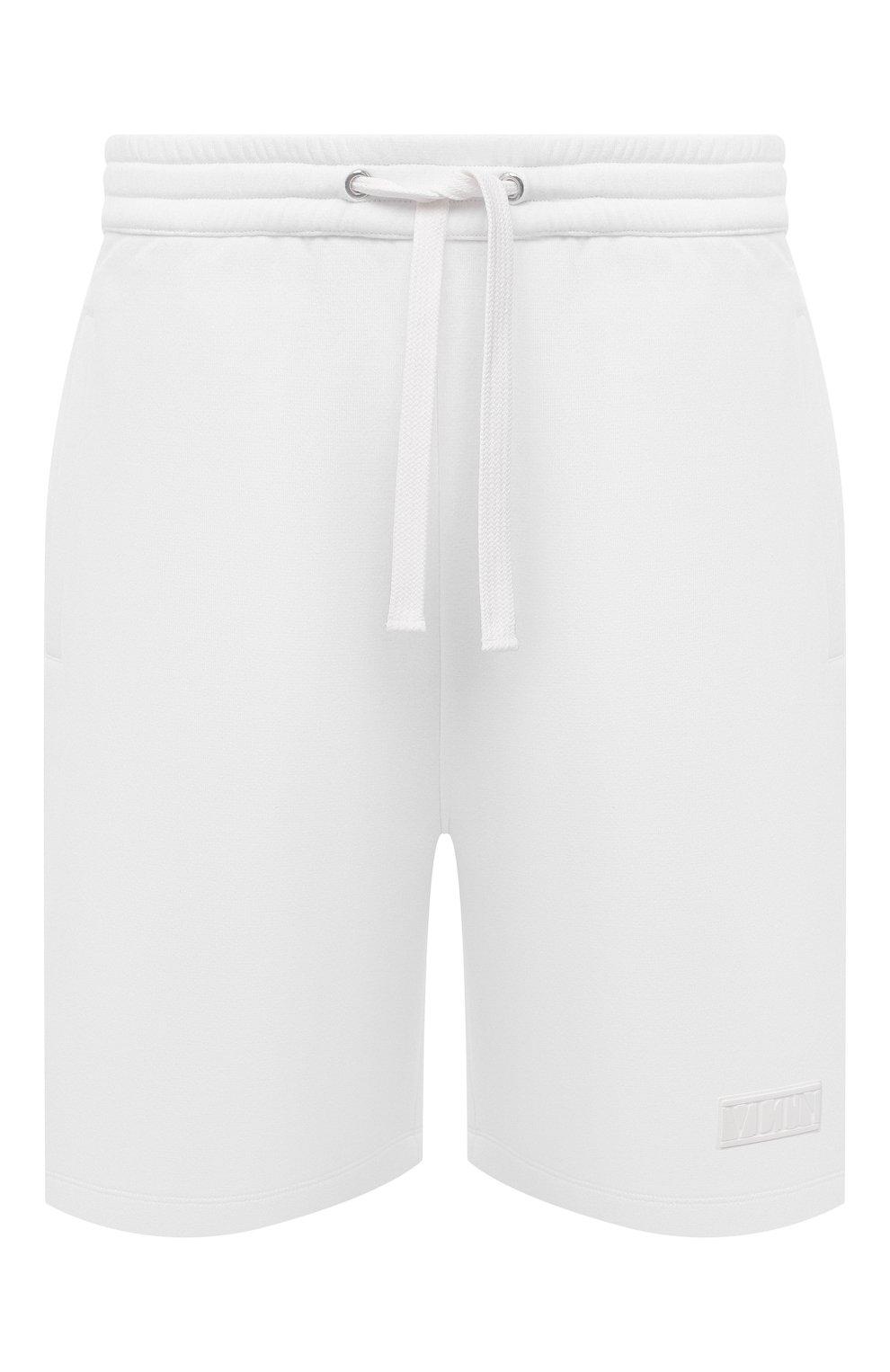 Мужские хлопковые шорты VALENTINO белого цвета, арт. WV3MD02D7FH | Фото 1 (Принт: Без принта; Длина Шорты М: Ниже колена; Кросс-КТ: Трикотаж; Материал внешний: Хлопок; Стили: Спорт-шик)