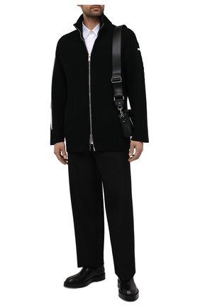 Мужской шерстяной кардиган VALENTINO черного цвета, арт. WV3KE01K7ME | Фото 2 (Стили: Кэжуэл; Мужское Кросс-КТ: Кардиган-одежда; Материал внешний: Шерсть; Рукава: Длинные; Длина (для топов): Стандартные)