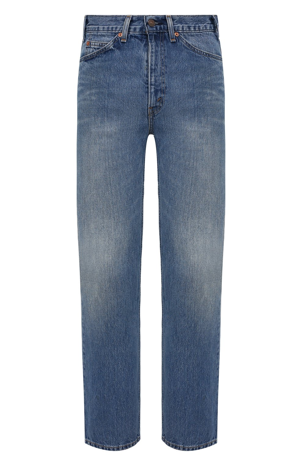 Мужские джинсы valentino x levi's VALENTINO синего цвета, арт. VV0DD01G7FJ | Фото 1 (Силуэт М (брюки): Широкие; Кросс-КТ: Деним; Длина (брюки, джинсы): Стандартные; Материал внешний: Хлопок, Деним; Детали: Потертости; Стили: Кэжуэл)