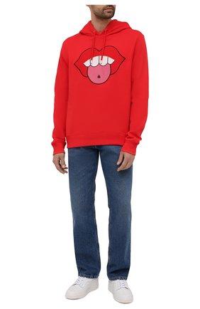 Мужской хлопковое худи LANVIN красного цвета, арт. RM-H00001-J016-E21 | Фото 2