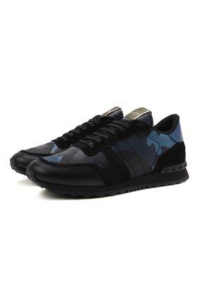 Мужские комбинированные кроссовки rockrunner VALENTINO синего цвета, арт. WY2S0723/TCC | Фото 1