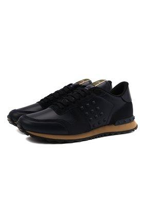 Мужские кожаные кроссовки rockrunner VALENTINO темно-синего цвета, арт. WY2S0748/VRJ | Фото 1
