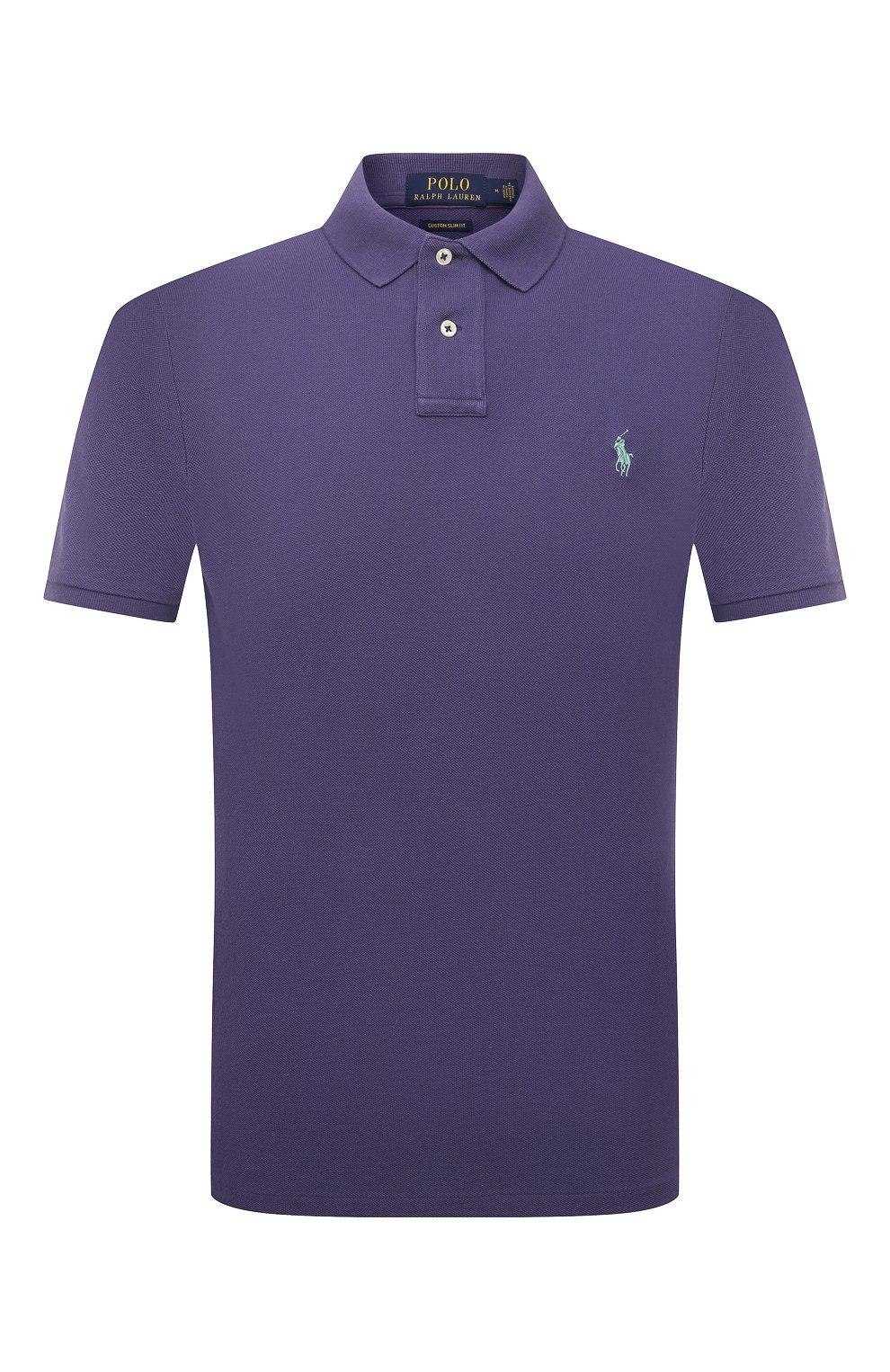 Мужское хлопковое поло POLO RALPH LAUREN фиолетового цвета, арт. 710680784   Фото 1