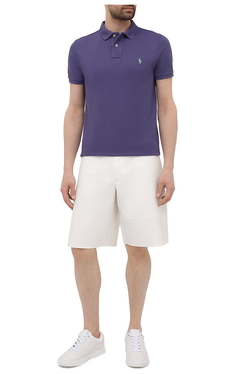 Мужское хлопковое поло POLO RALPH LAUREN фиолетового цвета, арт. 710680784   Фото 2