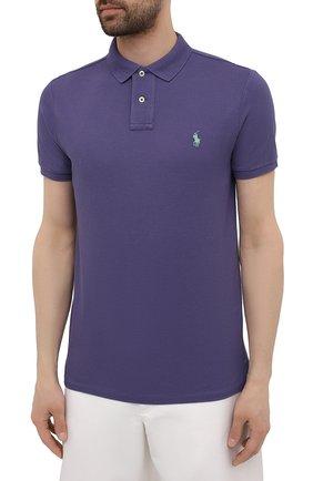 Мужское хлопковое поло POLO RALPH LAUREN фиолетового цвета, арт. 710680784   Фото 3