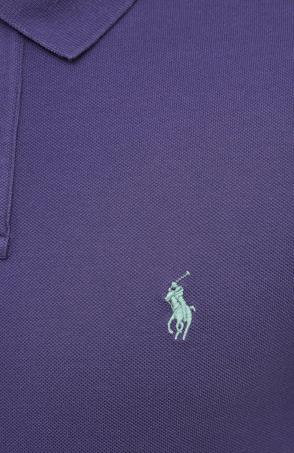Мужское хлопковое поло POLO RALPH LAUREN фиолетового цвета, арт. 710680784   Фото 5