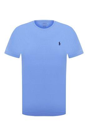 Мужская хлопковая футболка POLO RALPH LAUREN голубого цвета, арт. 710671438 | Фото 1
