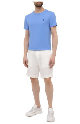 Мужская хлопковая футболка POLO RALPH LAUREN голубого цвета, арт. 710671438 | Фото 2