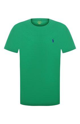 Мужская хлопковая футболка POLO RALPH LAUREN зеленого цвета, арт. 710671438 | Фото 1 (Длина (для топов): Стандартные; Принт: Без принта; Стили: Кэжуэл; Рукава: Короткие; Материал внешний: Хлопок)