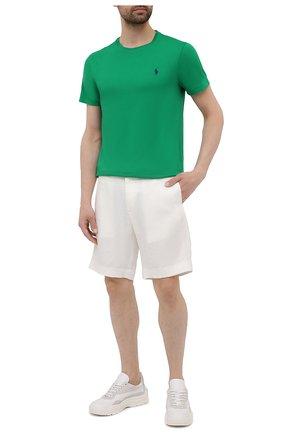 Мужская хлопковая футболка POLO RALPH LAUREN зеленого цвета, арт. 710671438 | Фото 2 (Длина (для топов): Стандартные; Принт: Без принта; Стили: Кэжуэл; Рукава: Короткие; Материал внешний: Хлопок)