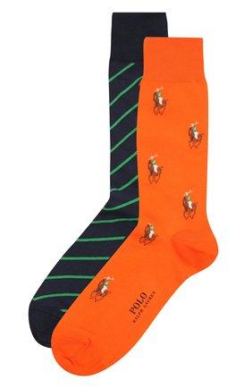 Мужские комплект из двух пар носков POLO RALPH LAUREN разноцветного цвета, арт. 449841585 | Фото 1