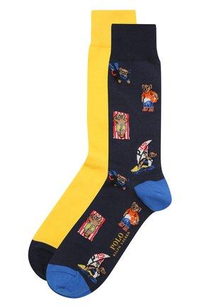 Мужские комплект из двух пар носков POLO RALPH LAUREN разноцветного цвета, арт. 449841584 | Фото 1