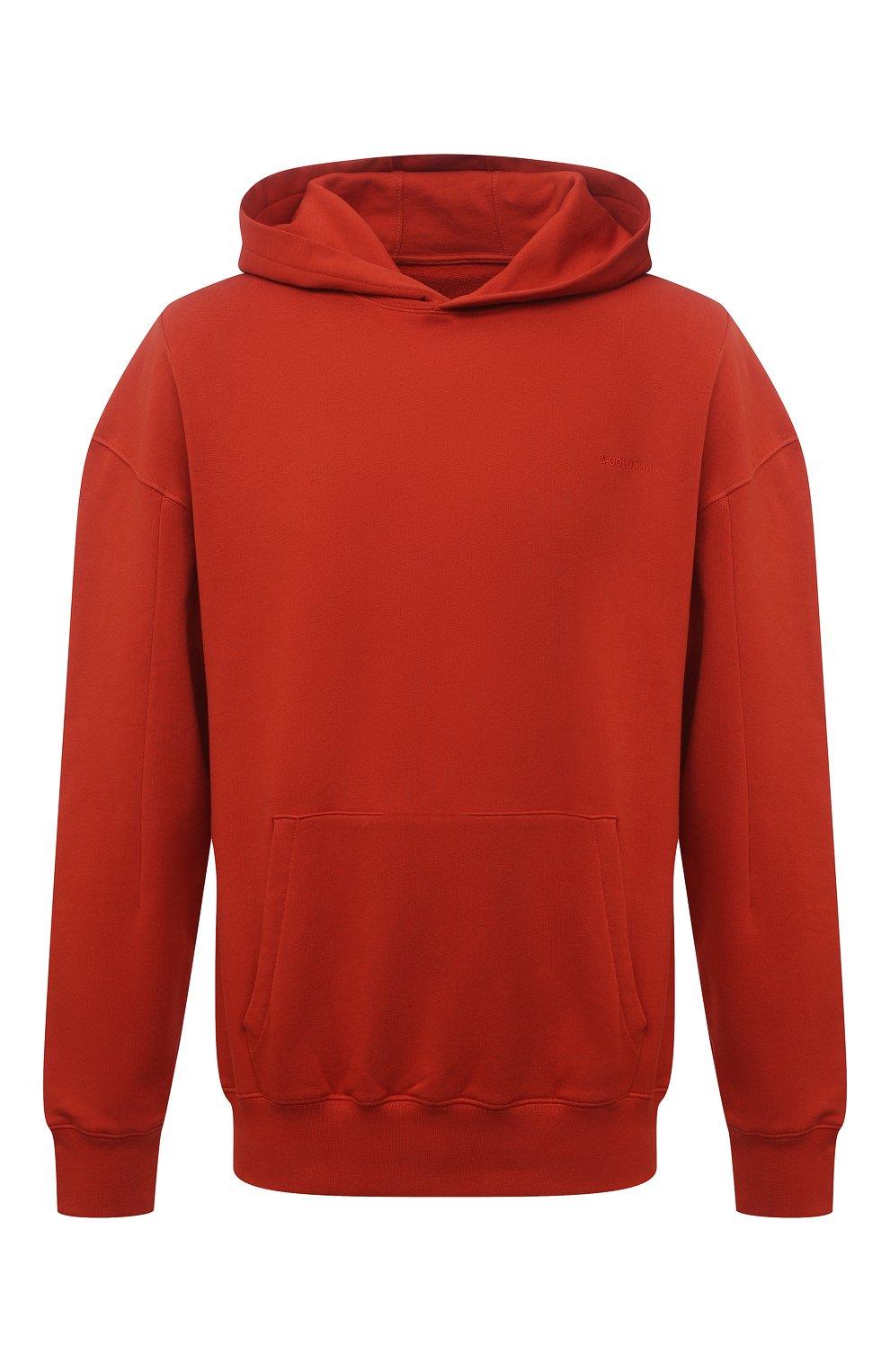 Мужской хлопковое худи A-COLD-WALL* красного цвета, арт. ACWMW033 | Фото 1 (Рукава: Длинные; Принт: Без принта; Длина (для топов): Стандартные; Мужское Кросс-КТ: Худи-одежда; Материал внешний: Хлопок; Стили: Минимализм)