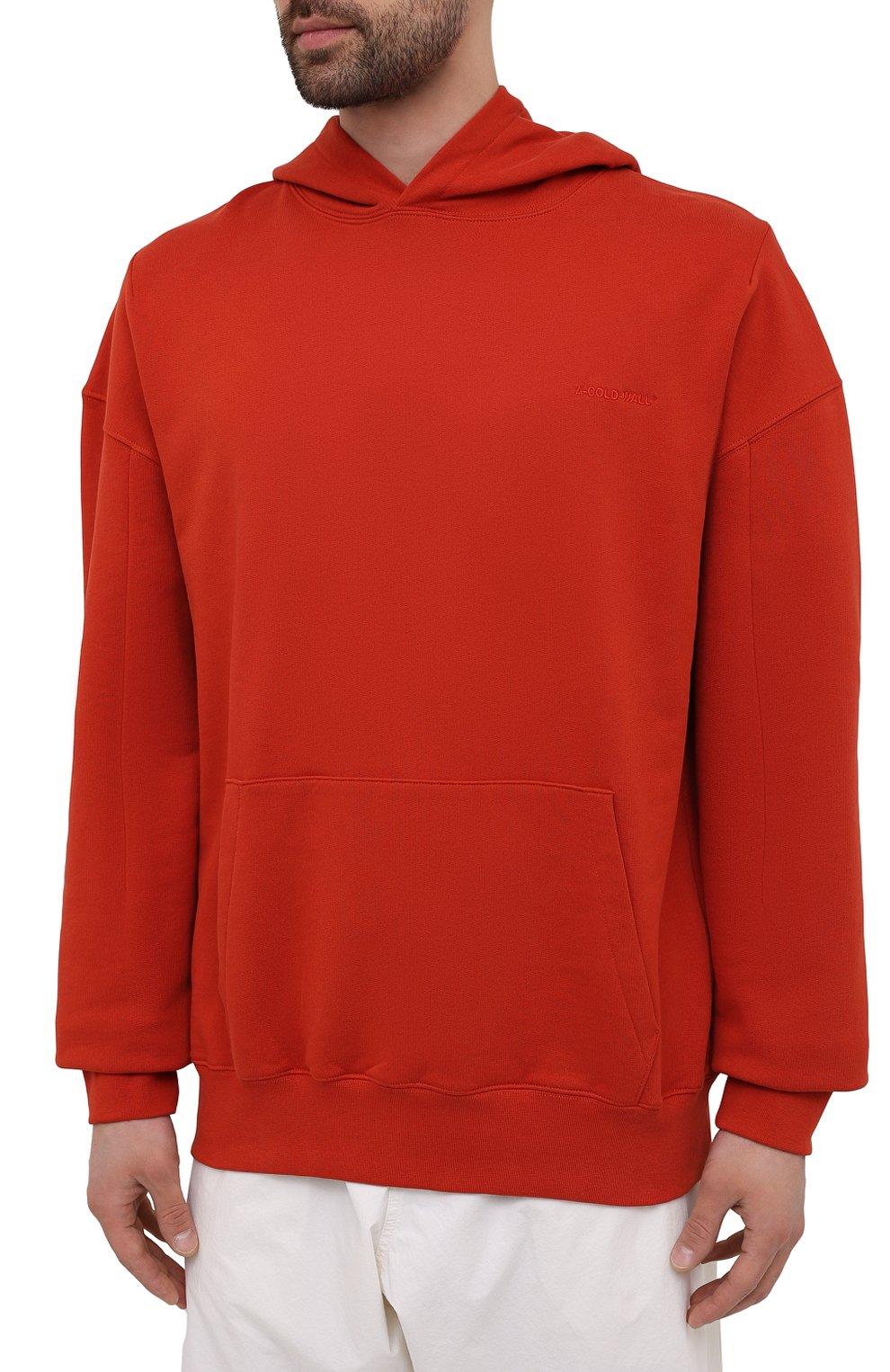Мужской хлопковое худи A-COLD-WALL* красного цвета, арт. ACWMW033 | Фото 3 (Рукава: Длинные; Принт: Без принта; Длина (для топов): Стандартные; Мужское Кросс-КТ: Худи-одежда; Материал внешний: Хлопок; Стили: Минимализм)