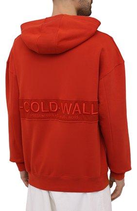 Мужской хлопковое худи A-COLD-WALL* красного цвета, арт. ACWMW033 | Фото 4 (Рукава: Длинные; Принт: Без принта; Длина (для топов): Стандартные; Мужское Кросс-КТ: Худи-одежда; Материал внешний: Хлопок; Стили: Минимализм)