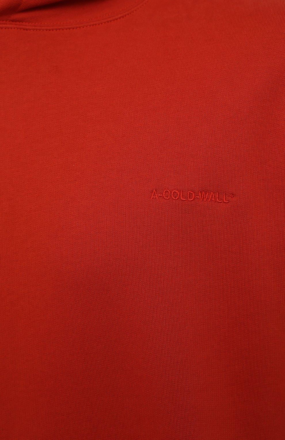 Мужской хлопковое худи A-COLD-WALL* красного цвета, арт. ACWMW033 | Фото 5 (Рукава: Длинные; Принт: Без принта; Длина (для топов): Стандартные; Мужское Кросс-КТ: Худи-одежда; Материал внешний: Хлопок; Стили: Минимализм)