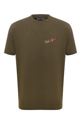 Мужская хлопковая футболка PALM ANGELS хаки цвета, арт. PMAA001S21JER0155684 | Фото 1