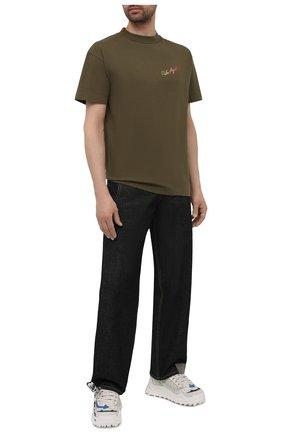 Мужская хлопковая футболка PALM ANGELS хаки цвета, арт. PMAA001S21JER0155684 | Фото 2
