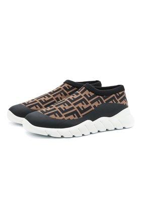 Мужские текстильные кроссовки FENDI коричневого цвета, арт. 7E1254 A7MN   Фото 1