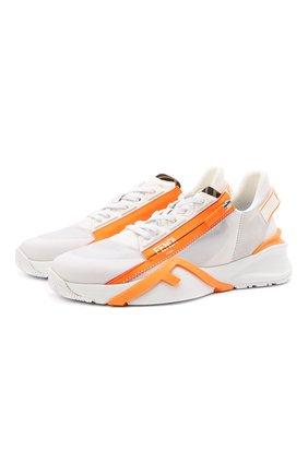 Мужские текстильные кроссовки FENDI белого цвета, арт. 7E1392 AF5R   Фото 1