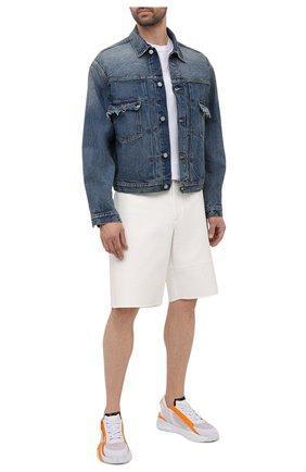 Мужские текстильные кроссовки FENDI белого цвета, арт. 7E1392 AF5R   Фото 2