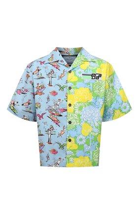 Мужская хлопковая рубашка PRADA разноцветного цвета, арт. UCS319-1X9D-F078N-182   Фото 1 (Длина (для топов): Стандартные; Рукава: Короткие; Стили: Романтичный; Случай: Повседневный; Материал внешний: Хлопок; Принт: С принтом; Воротник: Отложной)