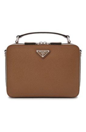 Мужская кожаная сумка brique PRADA светло-коричневого цвета, арт. 2VH069-9Z2-F0401-YMI | Фото 1