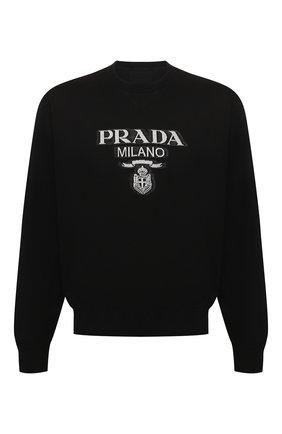 Мужской хлопковый свитшот PRADA черного цвета, арт. UJL148-1Y13-F0967-202 | Фото 1