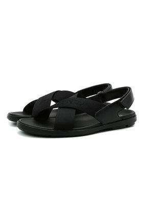 Мужские комбинированные сандалии PRADA черного цвета, арт. 2X3023-3KXS-F0002   Фото 1