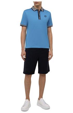 Мужские шерстяные шорты PRADA темно-синего цвета, арт. SPG68-1RII-F0008-191 | Фото 2 (Мужское Кросс-КТ: Шорты-одежда; Стили: Минимализм; Длина Шорты М: Ниже колена; Принт: Без принта; Материал внешний: Шерсть)