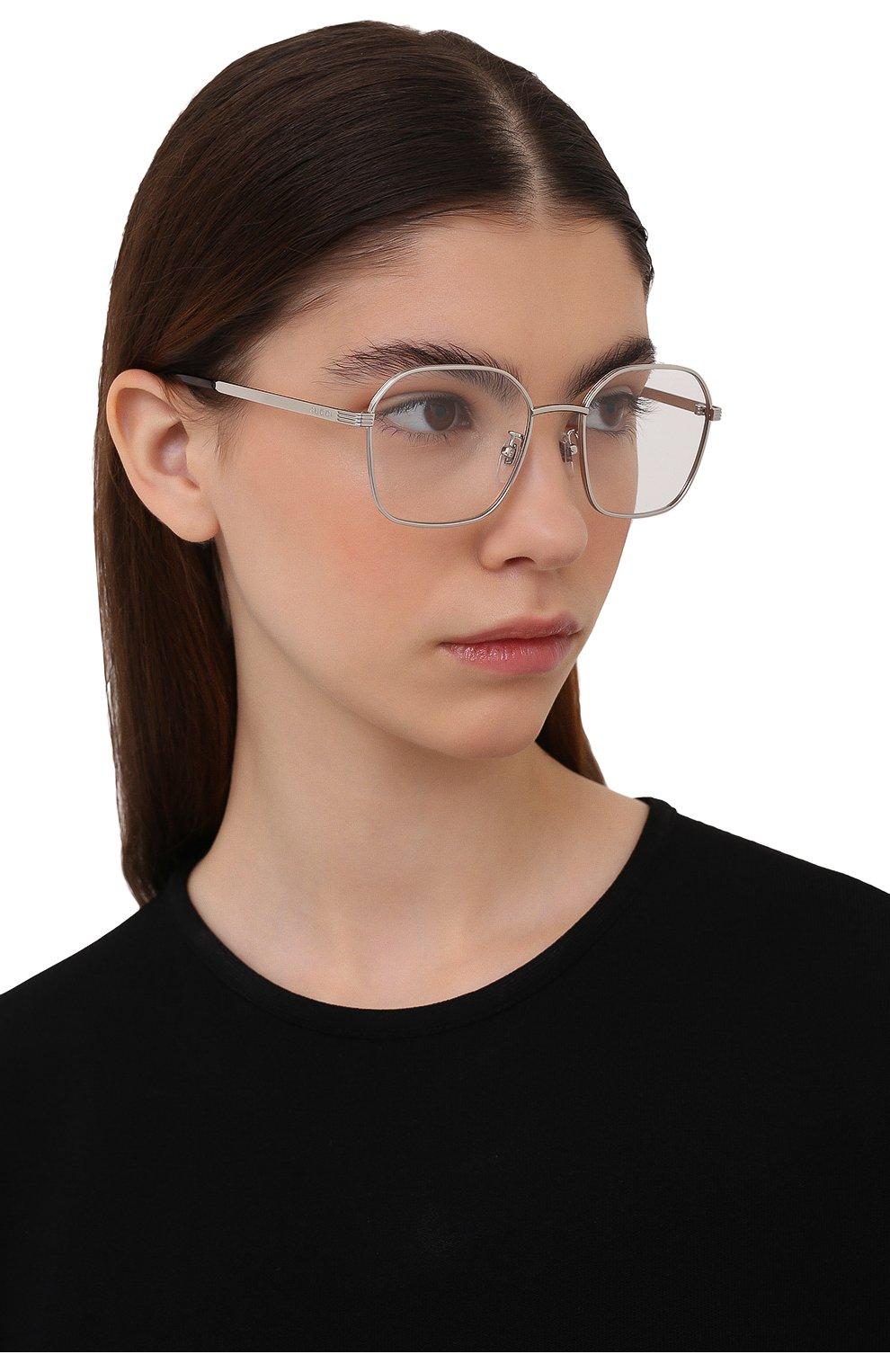 Женские оправа GUCCI серебряного цвета, арт. GG09460A 001   Фото 2 (Тип очков: Оправа; Оптика Гендер: оптика-женское; Очки форма: Прямоугольные)