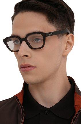 Мужские оправа PRADA коричневого цвета, арт. 11WV-2AU101 | Фото 2 (Тип очков: Оправа; Очки форма: Прямоугольные; Оптика Гендер: оптика-мужское)