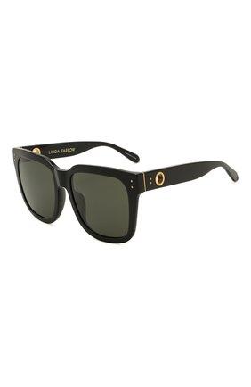 Женские солнцезащитные очки LINDA FARROW черного цвета, арт. LFL1175C1 SUN   Фото 1