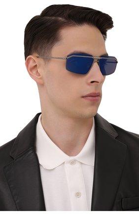 Мужские солнцезащитные очки BALENCIAGA серебряного цвета, арт. BB0139S 002 | Фото 2 (Тип очков: С/з; Очки форма: Прямоугольные; Оптика Гендер: оптика-мужское)