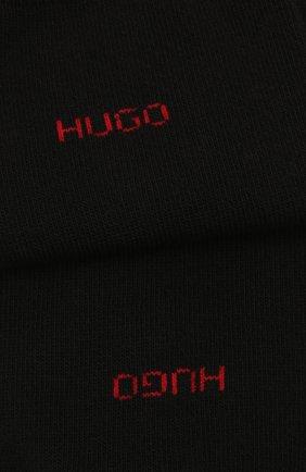 Мужские комплект из двух пар носков HUGO черного цвета, арт. 50448250 | Фото 2 (Кросс-КТ: бельё; Материал внешний: Хлопок)