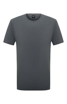 Мужская хлопковая футболка BOSS темно-зеленого цвета, арт. 50379310   Фото 1 (Стили: Кэжуэл; Длина (для топов): Стандартные; Материал внешний: Хлопок; Рукава: Короткие; Принт: Без принта)