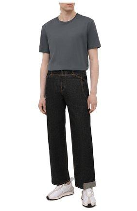 Мужская хлопковая футболка BOSS темно-зеленого цвета, арт. 50379310   Фото 2 (Стили: Кэжуэл; Длина (для топов): Стандартные; Материал внешний: Хлопок; Рукава: Короткие; Принт: Без принта)