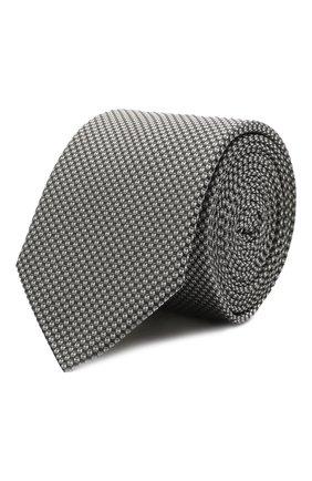 Мужской шелковый галстук HUGO серого цвета, арт. 50454872   Фото 1 (Материал: Текстиль, Шелк; Принт: С принтом)
