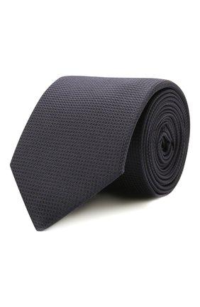 Мужской шелковый галстук HUGO темно-синего цвета, арт. 50455278 | Фото 1 (Принт: Без принта; Материал: Текстиль, Шелк)