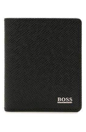 Мужской кожаный футляр для кредитных карт BOSS черного цвета, арт. 50452068   Фото 1