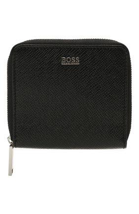 Мужской кожаное портмоне BOSS черного цвета, арт. 50453260   Фото 1